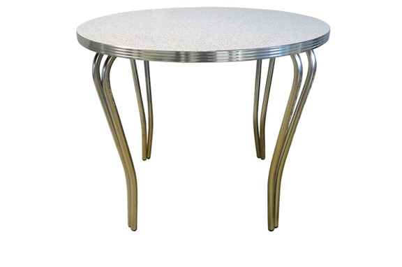 Retro Deco Round Table with Double Tube Pin Legs