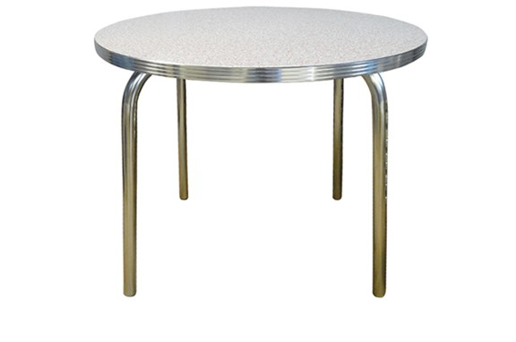 Retro Round Dining Table with Single Tube Pin Legs