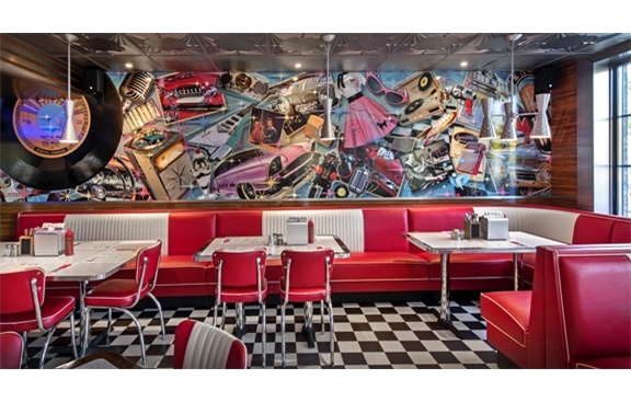 50s diner decor images galleries with for Diner style curtains