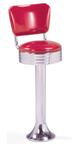 1500-782RB - New Retro Dining Revolving Grooved Ring Fountain Stool with Back