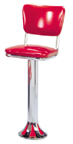 1700-921 - New Retro Dining Fountain Stool with Back and Tear Drop Base
