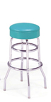 "215-125R - New Retro Dining 30"" Revolving Double Ring Barstool with Upholstered Ring"
