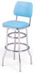 "215-530 - New Retro Dining 30"" Revolving Double Ring Barstool with Back"
