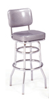 "215-531 - New Retro Dining 30"" Revolving Double Ring Barstool with Back"