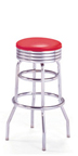 "215-782 - New Retro Dining 30"" Revolving Double Ring Barstool with Grooved Ring"