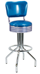 "250-782RB - New Retro Dining 24"" or 30"" Revolving Spider Leg Barstool with Grooved Ring Seat and Curved Back"