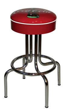 "264-125CBB - New Retro Dining 24"" or 30"" Revolving Single Foot Ring Barstool with Red Painted Seat Ring with Coke Bull's-Eye Silk Screen Seat"