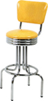 "264-49NSRB - New Retro Dining 24"" or 30"" Revolving Single Ring Barstool with Scalloped Ring and Back"