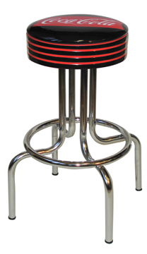 "264-782FT - New Retro Dining 24"" or 30"" Revolving Single Foot Ring Stool with Grooved Ring Seat and a Coke Fishtail Silk Screen Seat"