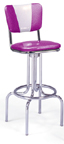 "264-921V -New Retro Dining 24"" or 30"" Revolving Single Ring Barstool with Smooth ""V"" Back"