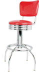 "300-49NSRB - New Retro Dining 24"" or 30"" Revolving Arch Leg Barstool with Scalloped Ring and Smooth Curved Back"