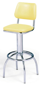 "300-530 - New Retro Dining 24"" or 30"" Revolving Single Foot Ring Stool with Tapered Curved Back and Arched Legs"
