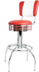 "300-782RBMB - New Retro Dining 24"" or 30"" Revolving Arch Leg Barstool with Grooved Ring and Malibu Back"
