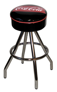 "400-46FT - New Retro Dining Coke Brand 30"" Revolving Single Foot Ring Stool with Painted Chrome Ring Seat Ring, Coca Cola Fishtail Icon Silk Screen Seat and Pyramid Legs."