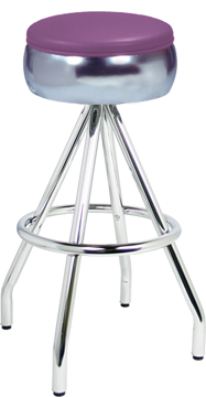 400-781 Revolving Single Foot Ring Stool with Bulged Ring Seat and Pyramid Legs.