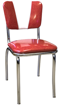 921 V Back CHair with Red Cracked Ice