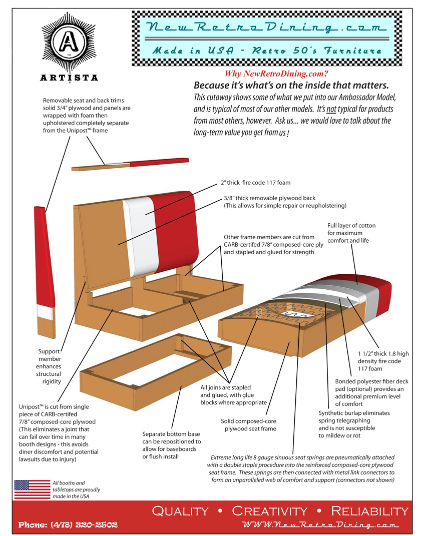 New Retro Dining Bench Cutaway and Specifications