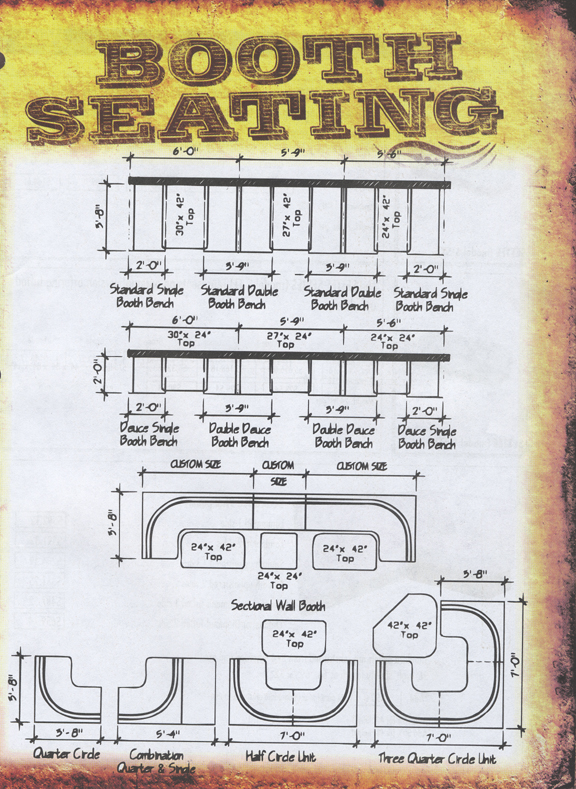 new retro dining booth seating layouts and dimensions