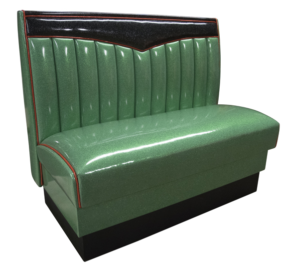 CHevy Bench in Zodiac Green, black and Burgundy Welt