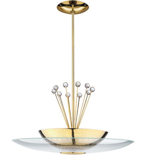 Click on Image for Large view of the LH-19 Retro Space Age Pendant Fixture - Polished Brass