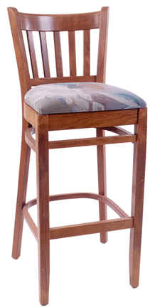 WLS-1000-BS Woodland Slatback Barstool with Upholstered Seat.