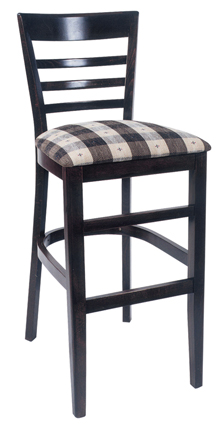 WLS-1300-BS New Retro Dining Woodland Ladder Back Bar Stool with Upholstered Seat