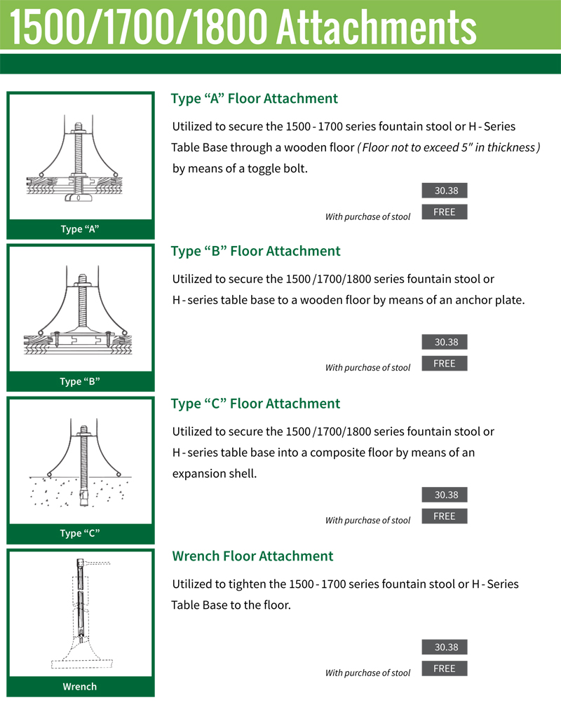 1500 and 1700 Series Floor Attachment Options