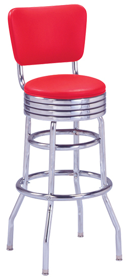 215-782 RB Retro Bar Stool with Grooved Ring Seat and Curved Back