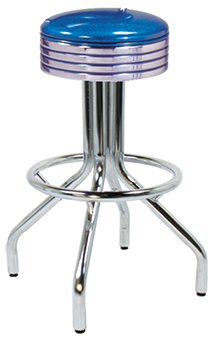 250-782 Revolving Single Ring Spider Leg Barstool with Grooved Seat Ring