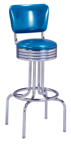 264-782RB - Single ring stool with curved back and revolving grooved ring seat
