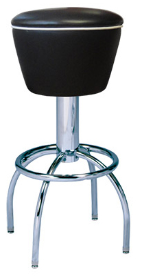 "300-161 - New Retro Dining 24"" or 30"" Revolving Single Foot Ring Stool with Uphostered Drum Seat and arched legs."