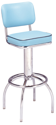 "300-531SH - New Retro Dining 24"" or 30"" Revolving Single Foot Ring Stool with Curved Sleek Back and Arched Legs"