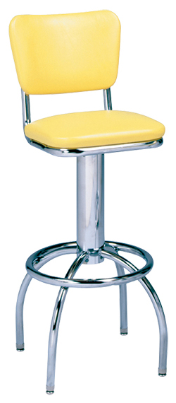 "300-921 - New Retro Dining 24"" or 30"" Revolving Single Foot Ring Stool with Curved Back and Arched Legs"