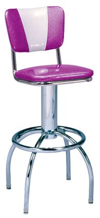 "300-921v - New Retro Dining 24"" or 30"" Revolving Single Foot Ring Stool with Curved Vintage V-Back and Arched Legs"