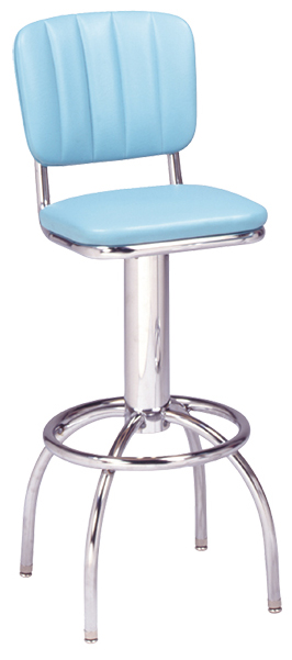 "300-939CB - New Retro Dining 24"" or 30"" Revolving Single Foot Ring Stool with Channel Back and Arched Legs"