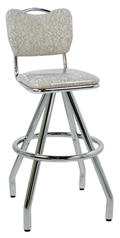 400-921HB Revolving Single Foot Ring Stool with Handle Back Upholstered Seat and Pyramid Legs.