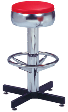 "500-781 - New Retro Dining 24"" or 30"" Single Foot Ring Stool with Bulged Chrome Ring Seat, 3-1/2"" Column and Cross Feet Base."