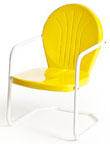 new retro metal yellow bellaire lawn chair patio furniture