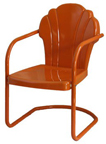 new retro metal chair tangerine parklane shell lawn chair patio furniture